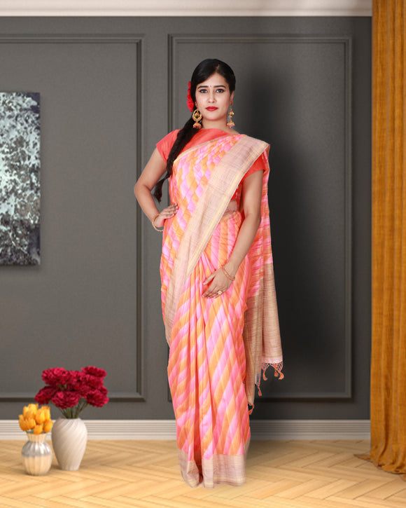 Multi colour ikkat handloom saree