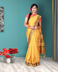 Yellow colour dupion silk saree with temple border
