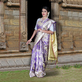 Blue colour designer kanchipuram saree with rich silver zari peacock motifs