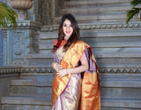 Blue colour exclusive designer kanchipuram saree with rich zari weaving