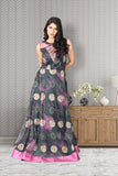 Printed Long frock with elegant yoke design