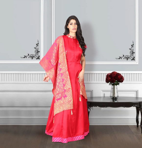 Tomato red raw silk suit with banaras dhupatta