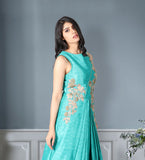 Green tafeta silk gown
