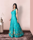 Green colour long raw silk gown