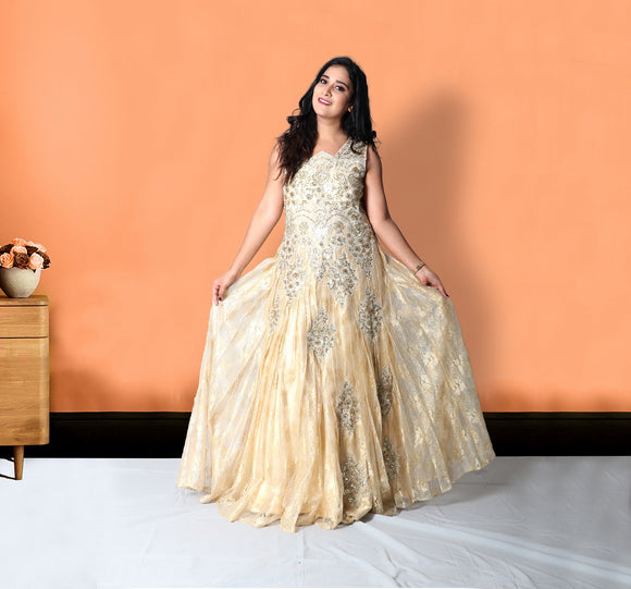 Golden yellow party gown