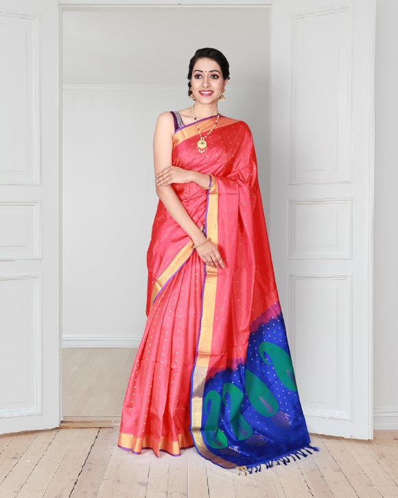 Tomato red pure silk saree with small buttas design
