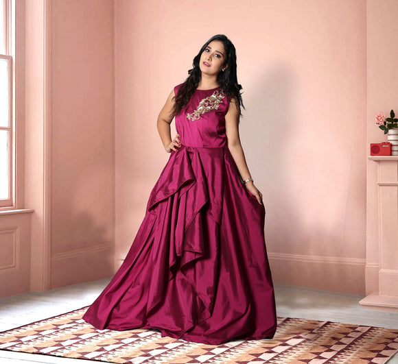 Wine colour layered gown