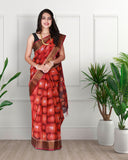 Red colour silk saree with ikkat weaving