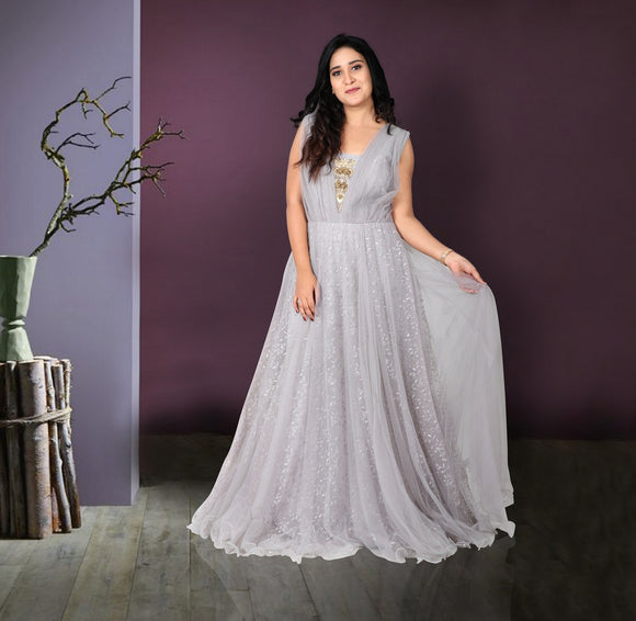 Grey colour net gown