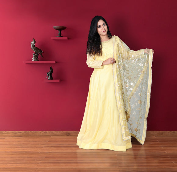 Butter yellow chanderi suit