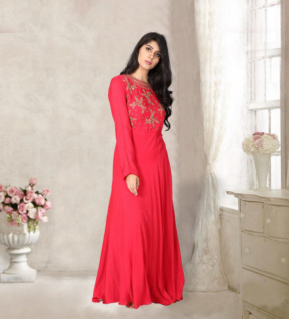 Tomato red floor length gown