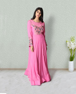 Pink colour floor length gown