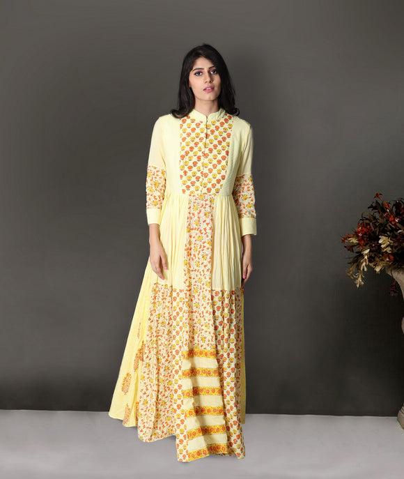Yellow colour pure cotton gown