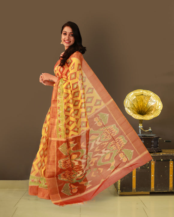 Yellow colour soft silk saree with pochampally ikkat weaving