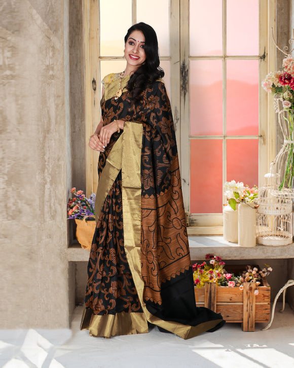 Black colour soft silk saree with mustard yellow colour jacquard silk weaving