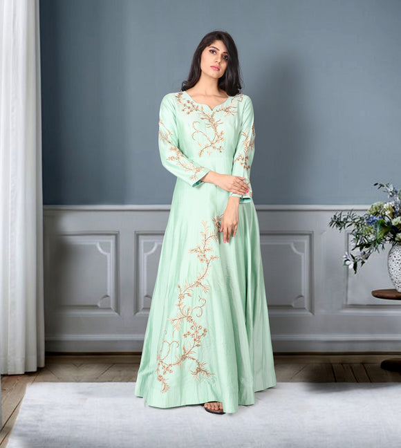 Pista green raw silk suit