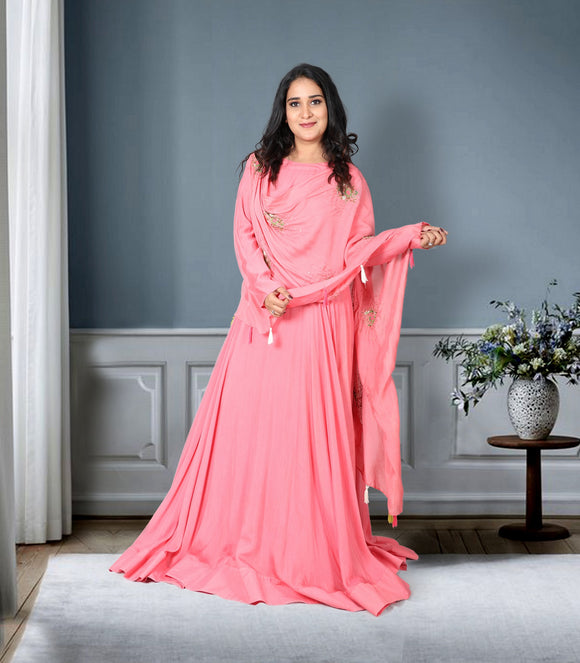 Rose pink gown with attached dhupatta