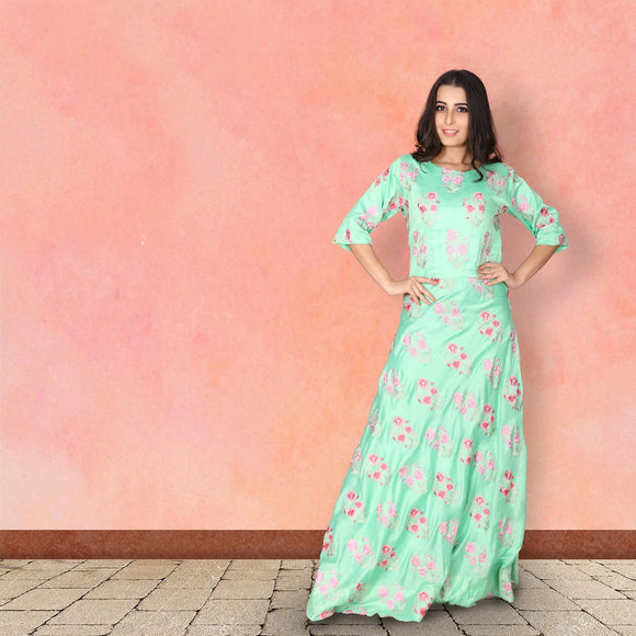 Pista green cotton suit with embroidery motifs