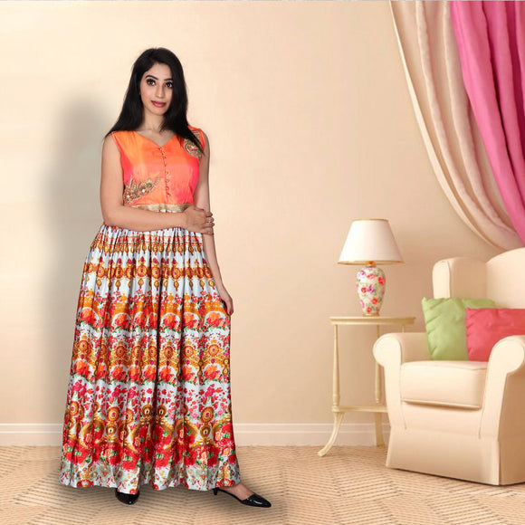 Ginger orange digital printed suit