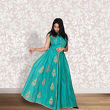 Green colour coimbatore sico gown with embroidery work
