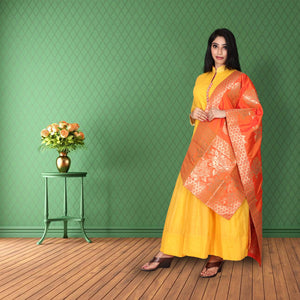 Yellow colour chanderi cotton suit