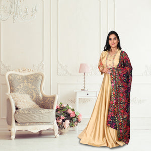 Golden colour silk suit with kashmiri work dhupatta