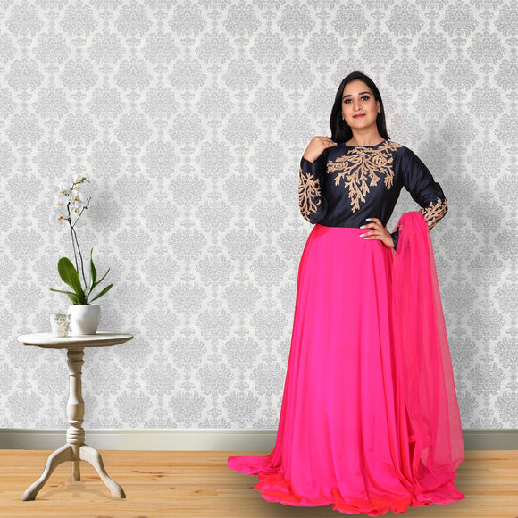 Fancy georgette pink colour suit