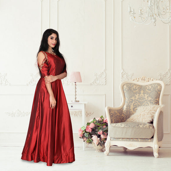 Light maroon fancy silk gown