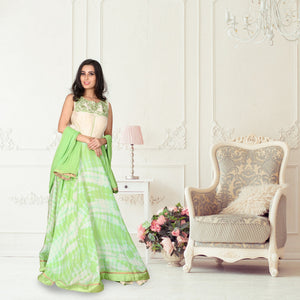 Green colour shibori print silk suit