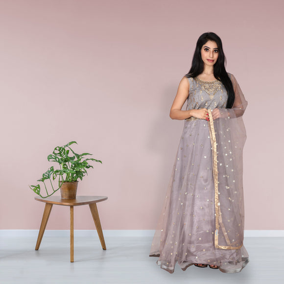 Ash grey net salwar suit