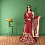 Maroon colour raw silk suit with embroidery work