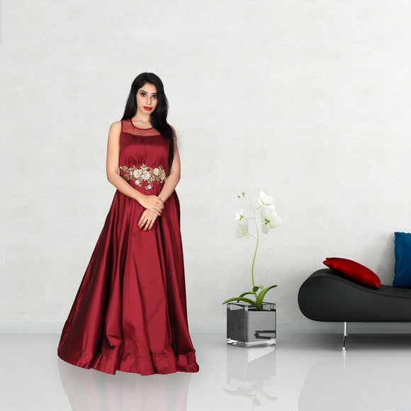 Maroon colour floor length silk gown