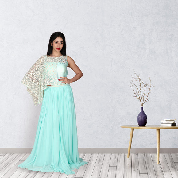 Aqua green georgette gown with a removable cape