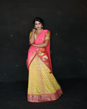 Yellow colour banaras georgette legenga