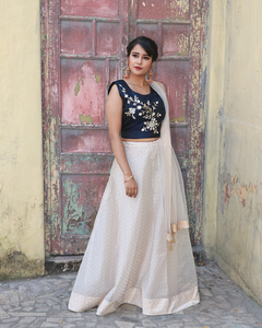 Organza crop top with fancy silk blouse and net dhupatta