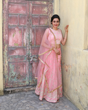 Onion pink net crop top with self colour zari embroidery