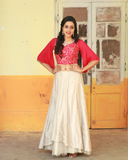 Pink colour georgette crop top with bell sleeves