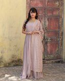 Cement grey colour georgette gown with chikankari dhupatta