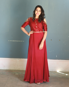 Maroon Colour gown with crop sleeves