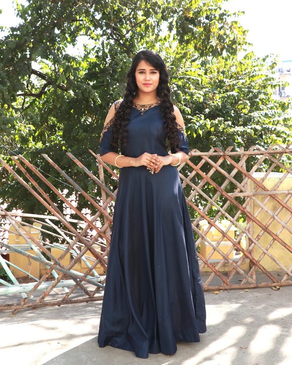 Navy blue floor length suit