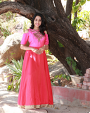 Pink colour gown with beautiful colour combination