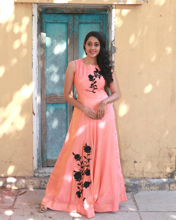 Coral pink raw silk gown with patch embroidery work