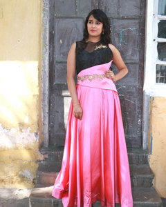 Pink and black gown with unique pattern on the waist