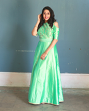 Pista Green silk suit with silk thread embroidery on the yoke