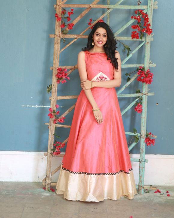 Pink colour floor length gown with beautiful border