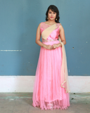 Pink colour net gown with attached dhupatta