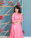 Onion pink suit with embroidery on the yoke and crop sleeves