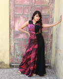 Black and Pink printed georgette gown