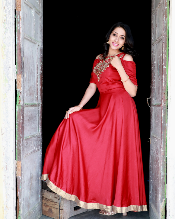 Maroon colour gown