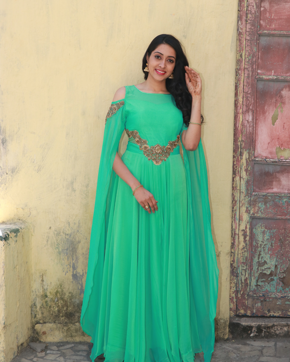 Pista green colour gown with long crop sleeves